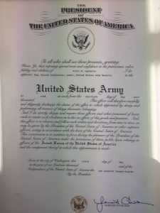 Scott LaPierre's commission in the United Stats Army as a Second Lieutenant