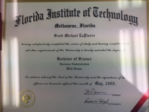 Scott LaPierre's Bachelor of Science in Business Administration from Florida Institute of Technology