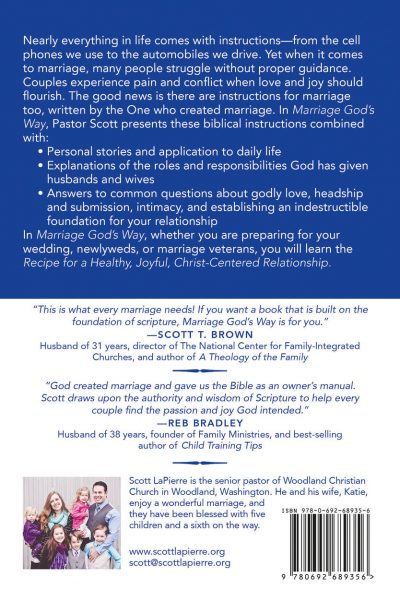 Back cover of Marriage God's Way by Scott LaPierre